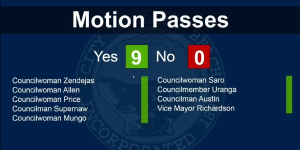 Long Beach City Council vote result